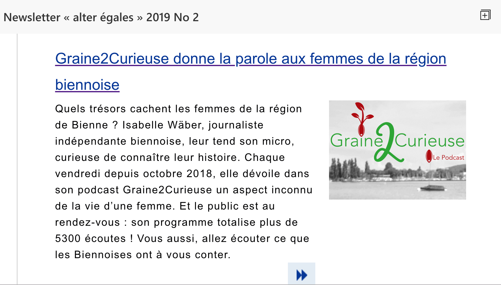 Newsletter «Alter égales»